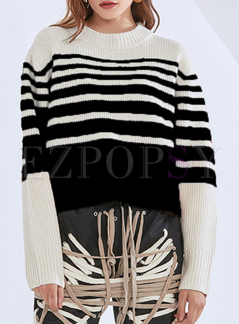 Crew Neck Long Sleeve Pullover Striped Sweater