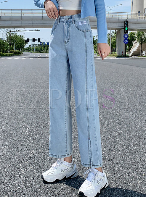 Casual High Waisted Straight Baggy Jeans