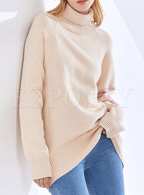 Turtleneck Long Sleeve Pullover Loose Sweater
