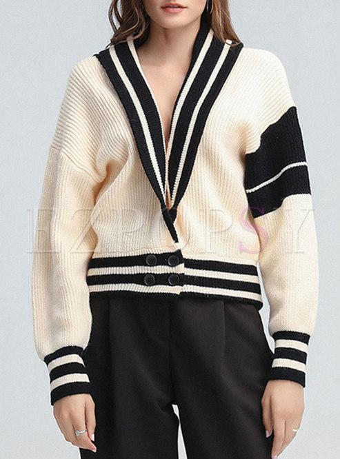 V-neck Batwing Sleeve Short Sweater Cardigan