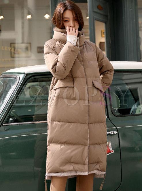 Mock Neck Thicken Long Puffer Coat