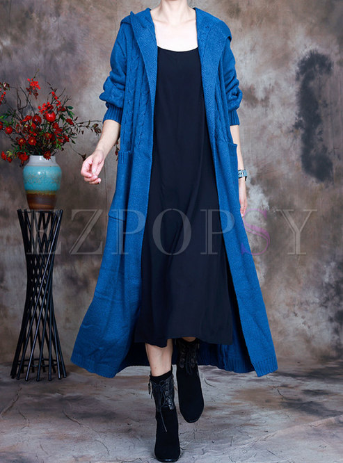 Hooded Plus Size Long Cardigan Coat