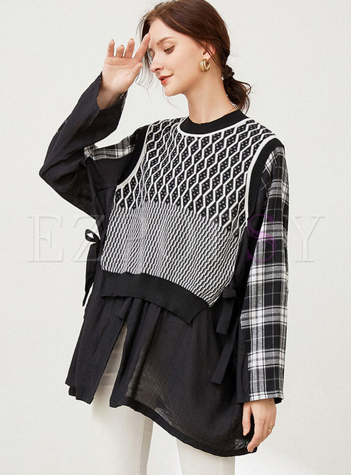 Plus Size Plaid Patchwork Pullover Knitted Top
