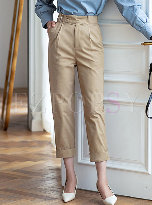 Casual High Waisted Cigarette Pants
