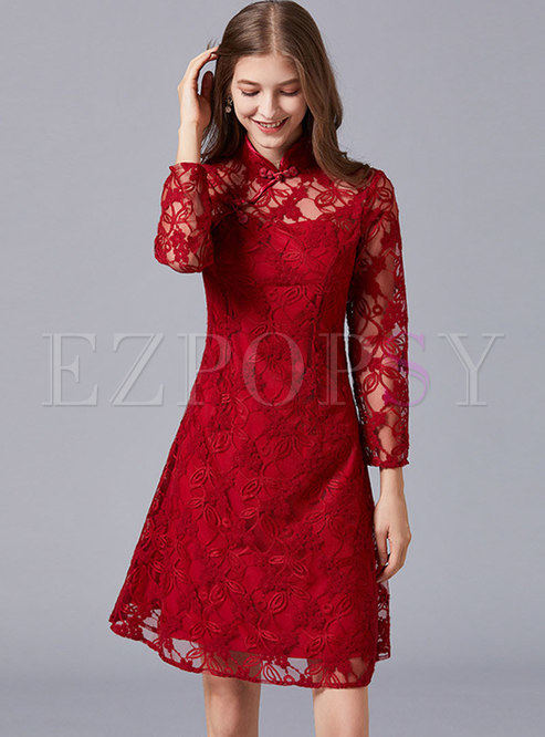 Long Sleeve Lace Plus Size Short Homecoming Dress