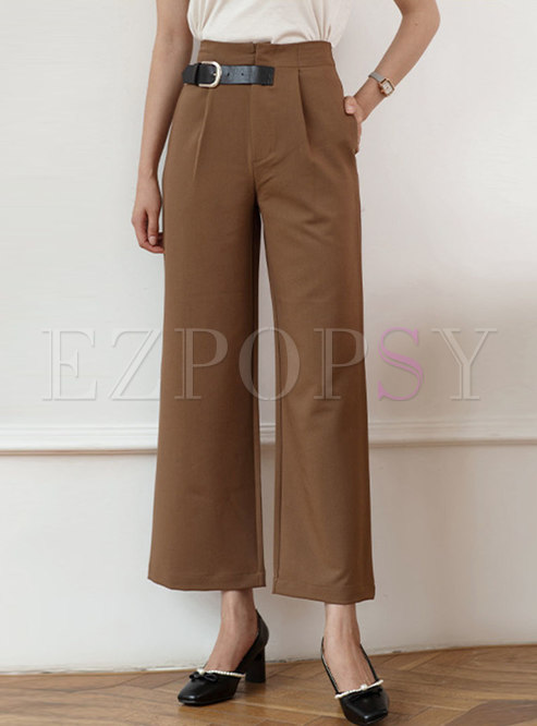 Casual High Waisted Wide Leg Pants