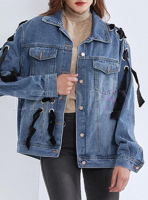 Drawstring Bowknot Washed Denim Loose Jacket