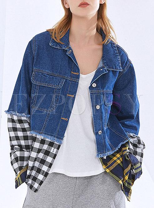 Flap Pockets Plaid Patchwork Denim Jacket