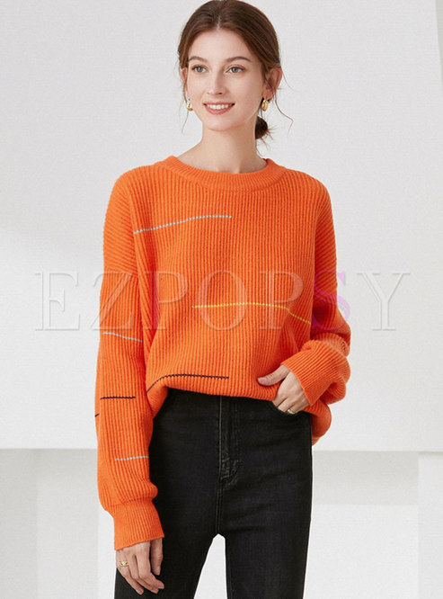 Crew Neck Long Sleeve Pullover Loose Sweater