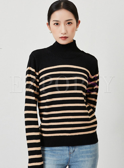 Turtleneck Long Sleeve Striped Pullover Sweater