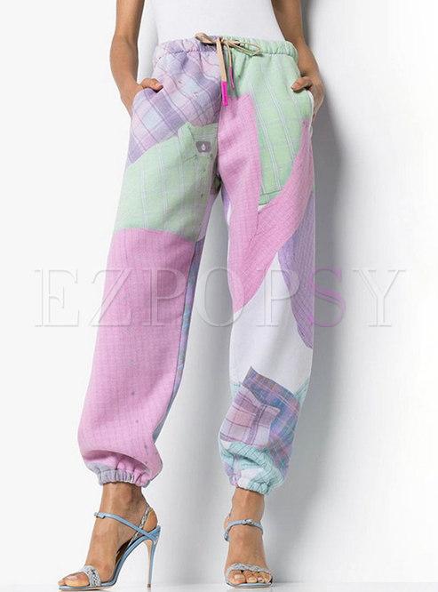 High Waisted Geometric Print Straight Pants