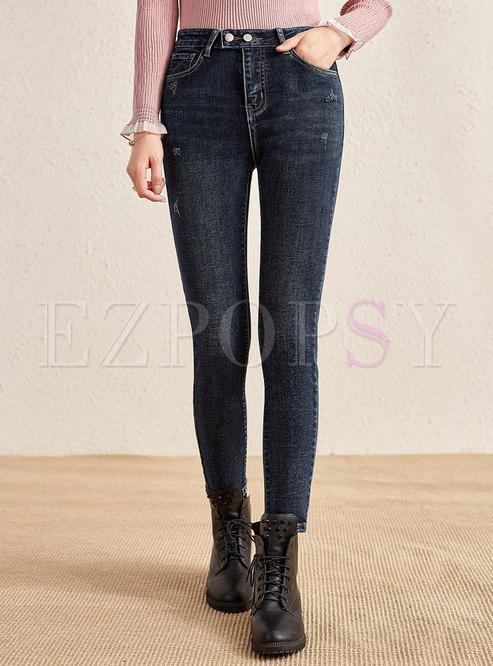High Waisted Denim Leggings Pencil Pants