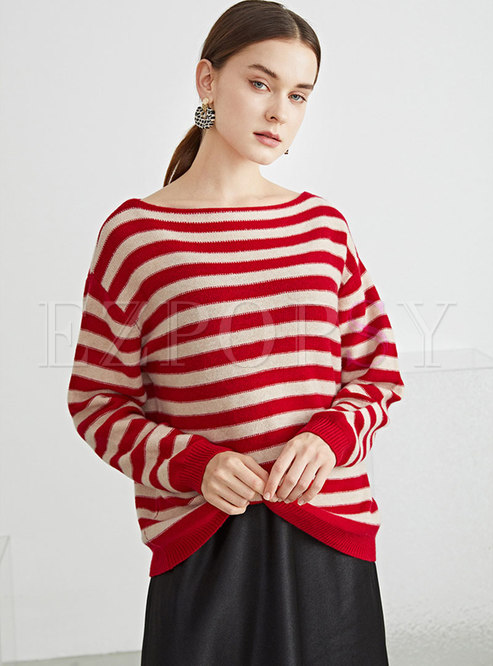 Crew Neck Long Sleeve Striped Wool Sweater