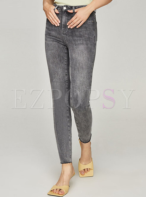 High Waisted Washed Denim Pencil Pants