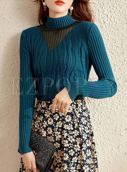 Half Turtleneck Long Sleeve Pullover Sweater