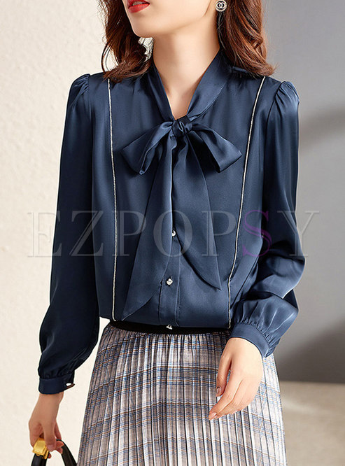 Bowknot Single-breasted Loose Blouse