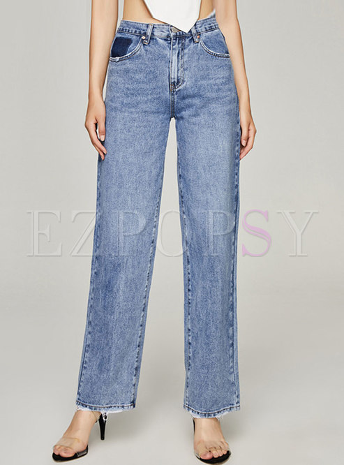 Casual High Waisted Wide Leg Jeans