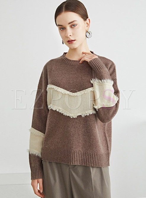 Crew Neck Fringed Pullover Wool Sweater
