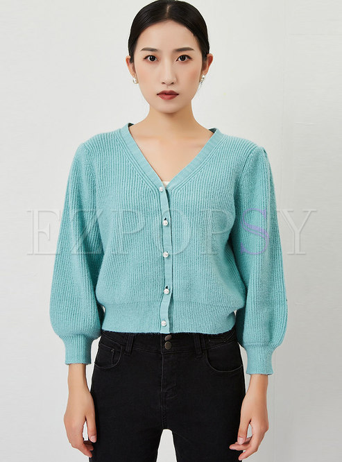 V-neck Long Sleeve Ribbed Short Cardigan