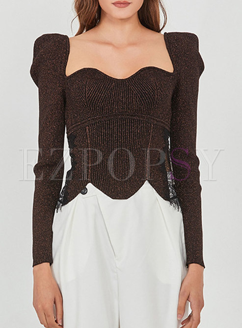 Square Neck Puff Sleeve Pullover Cropped Sweater