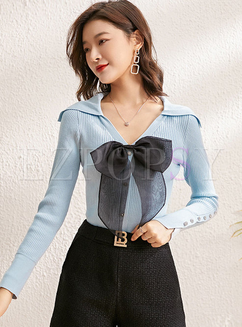 V-neck Long Sleeve Bowknot Pullover Sweater