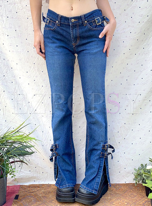 Low Rise Washed Denim Flare Pants