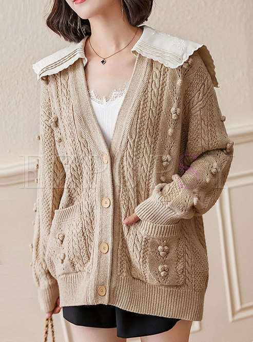 Casual Cable-knit Single-breasted Wool Cardigan