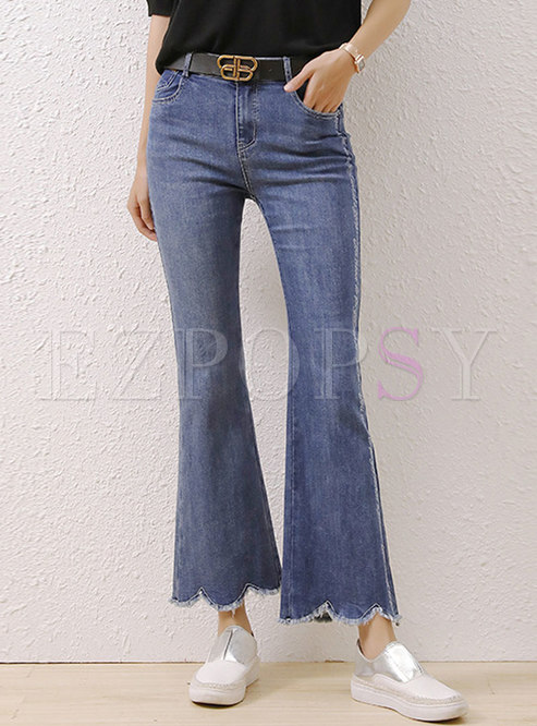 High Waisted Letter Embroidered Flare Pants