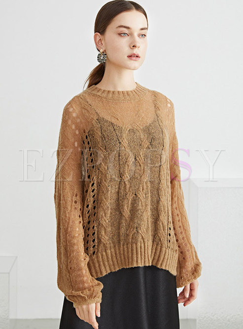 Long Sleeve Openwork Pullover Loose Sweater