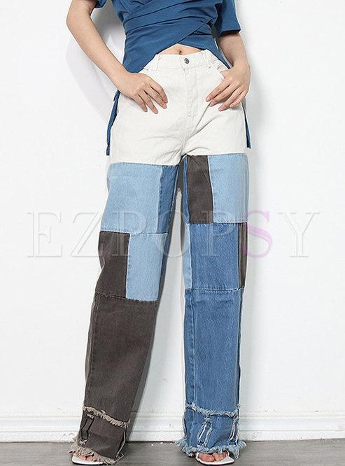 Color-blocked Plaid Patchwork Wide Leg Pants