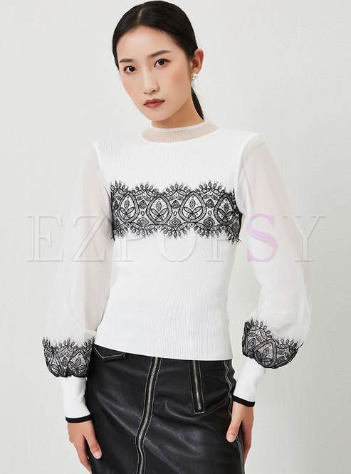 Lace Patchwork Lantern Sleeve Pullover Sweater