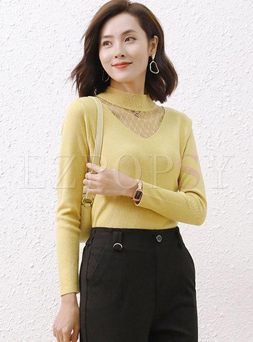 Sheer Mesh Patchwork Pullover Slim Sweater