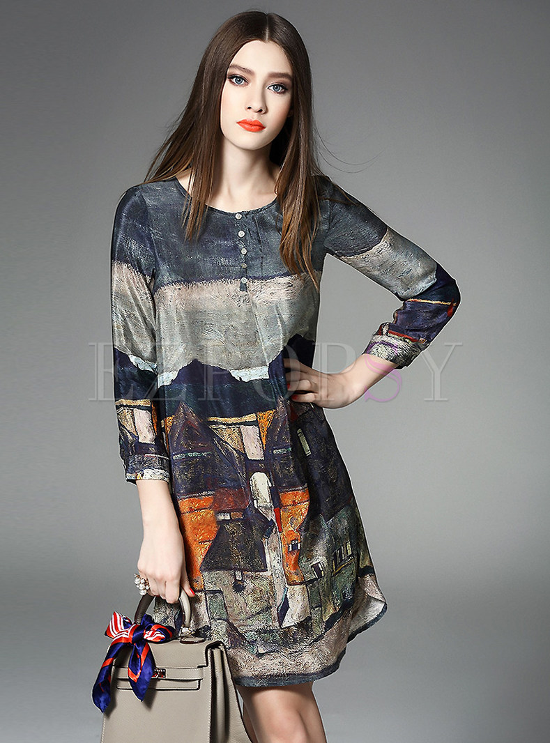 Vintage Landscape Print Patch Silk Dress