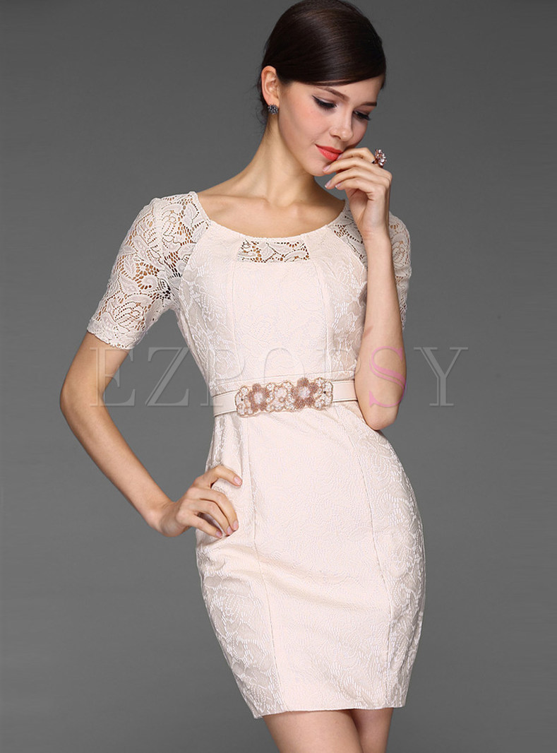 Lace Patch Skinny Dress Without Belt
