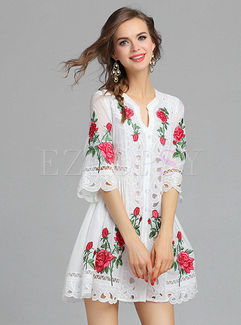 Rose embroidery short dress ezpopsy
