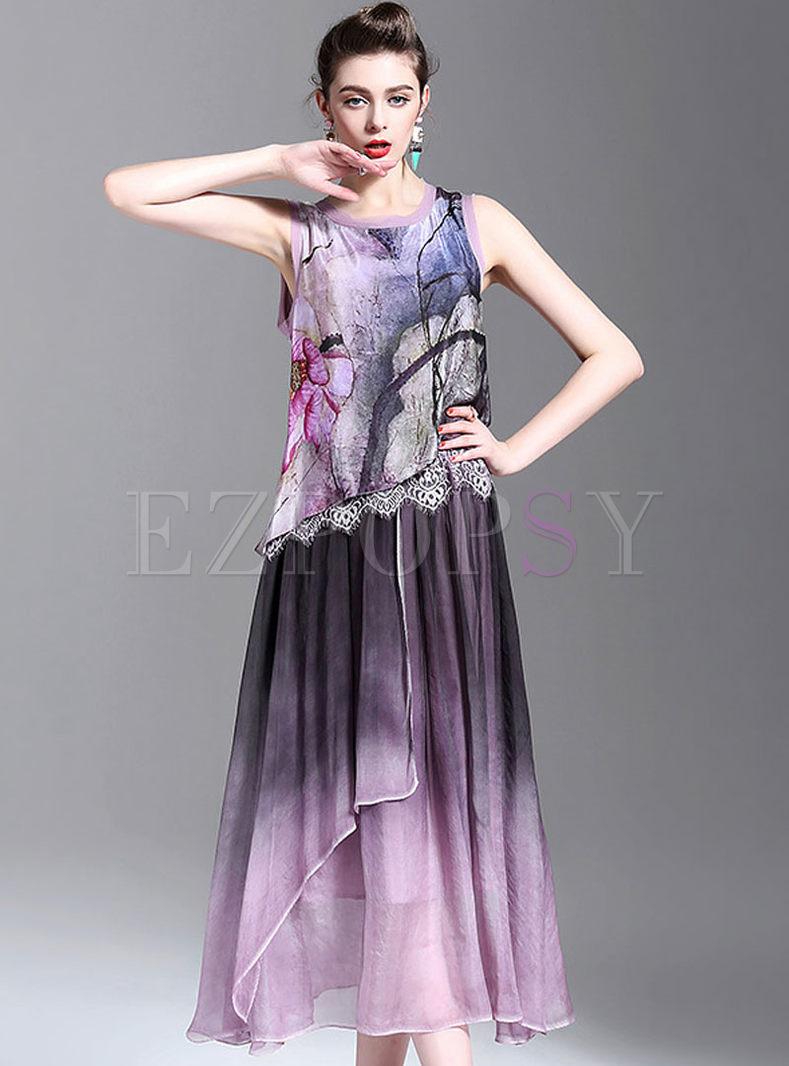 Sleeveless Round Neck Star Print Maxi Dress