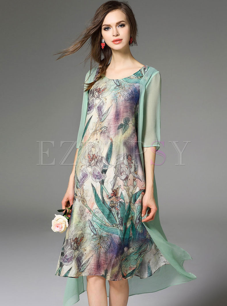 Dresses Shift Dresses Irregular Silk Floral Print Midi