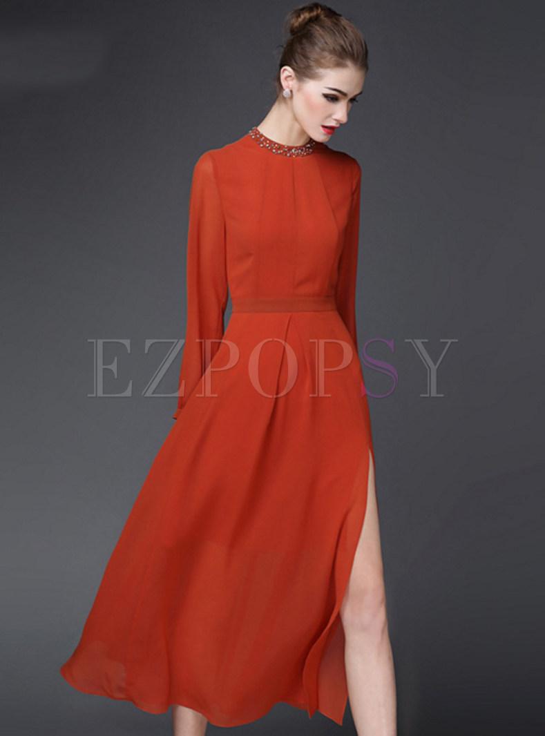 Pure Color O-Neck Slit Long Dress