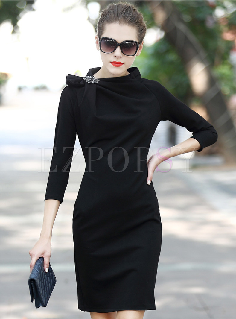 Pure Color Roman Cotton Sheath Dress