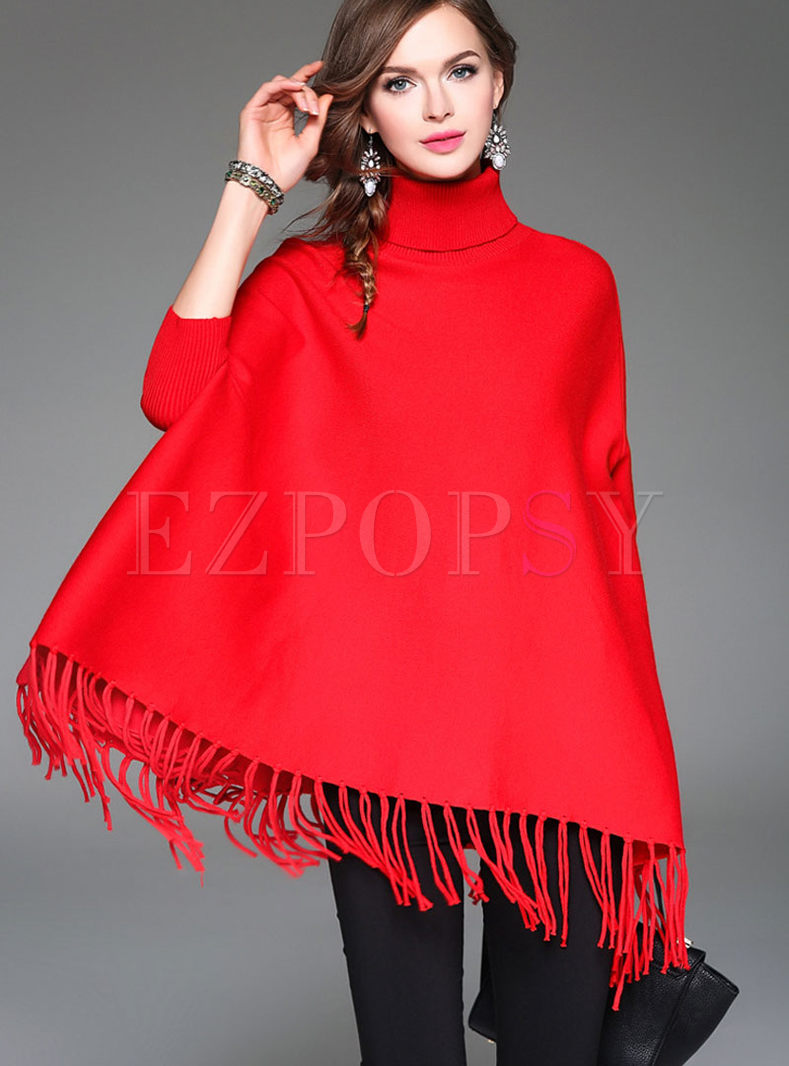 Chic Pure Color Stitching Turtleneck Kimono