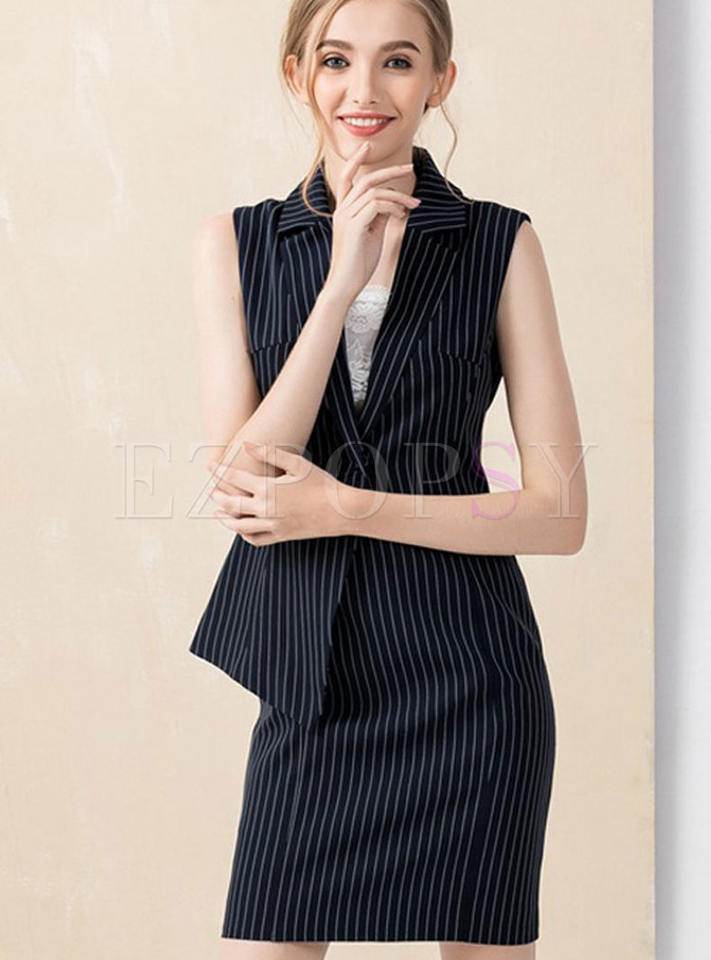 Fashion Turn Down Collar Stripe Bodycon Dress