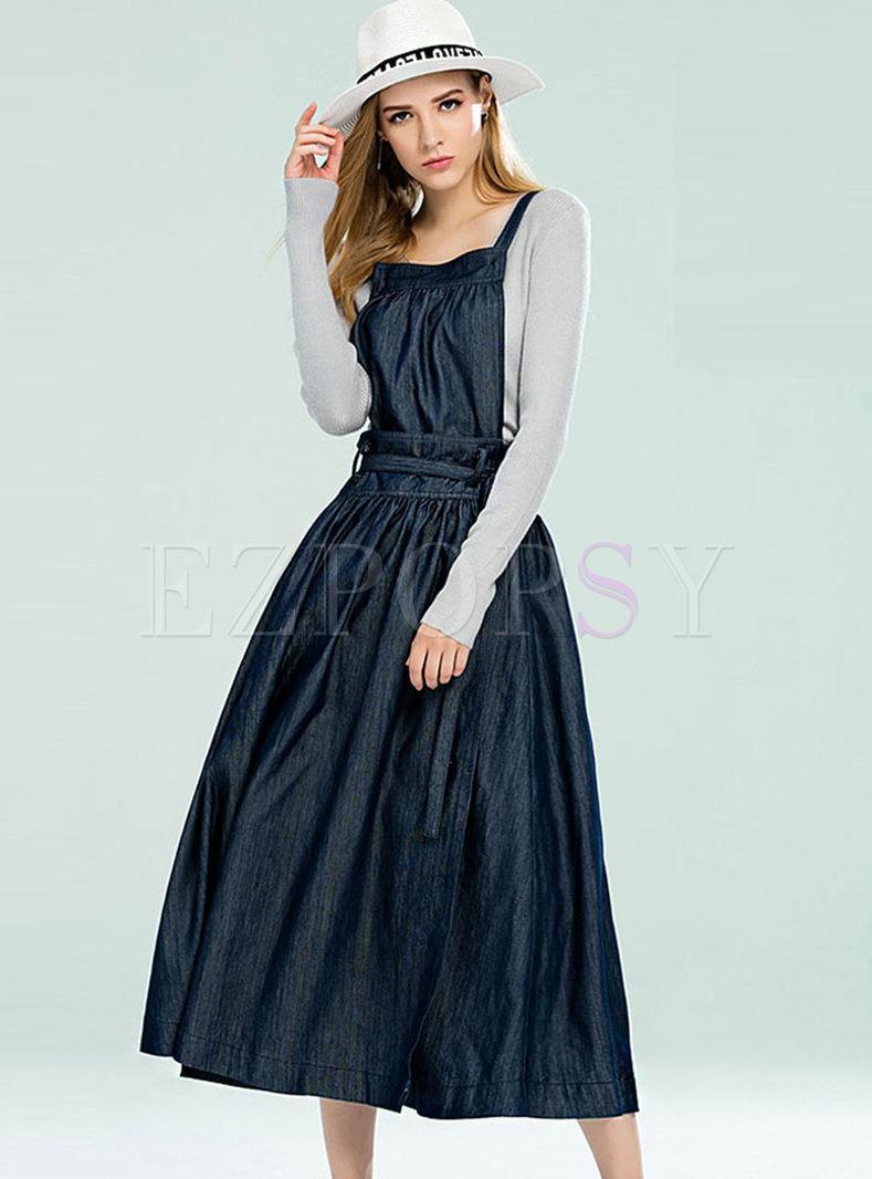 British Plus Size Denim Suspender Maxi Dress