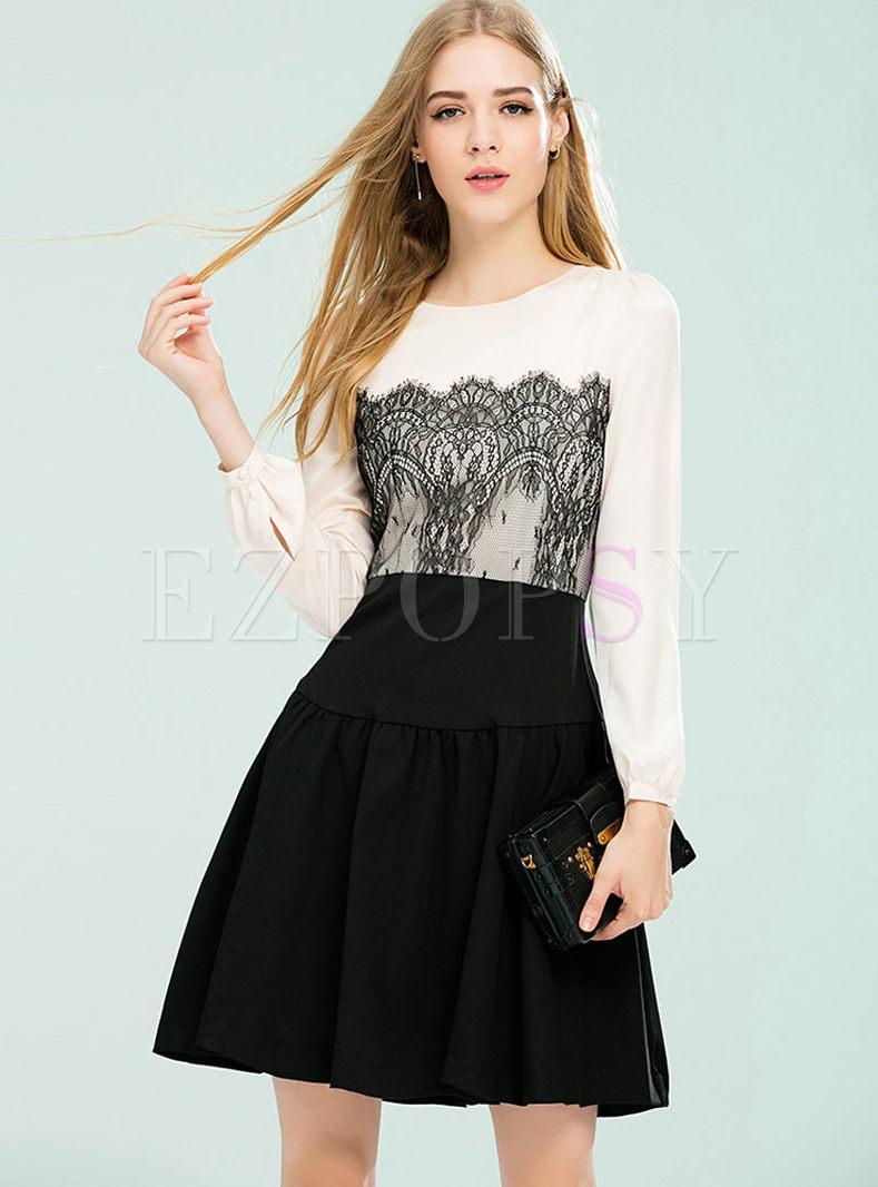 Slim Long Sleeve Lace Skater Dress