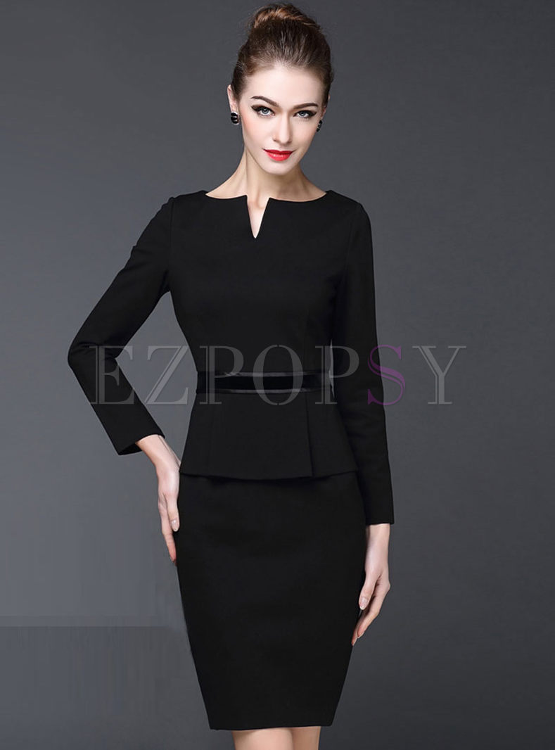 Black Long Sleeve Office Bodycon Dress