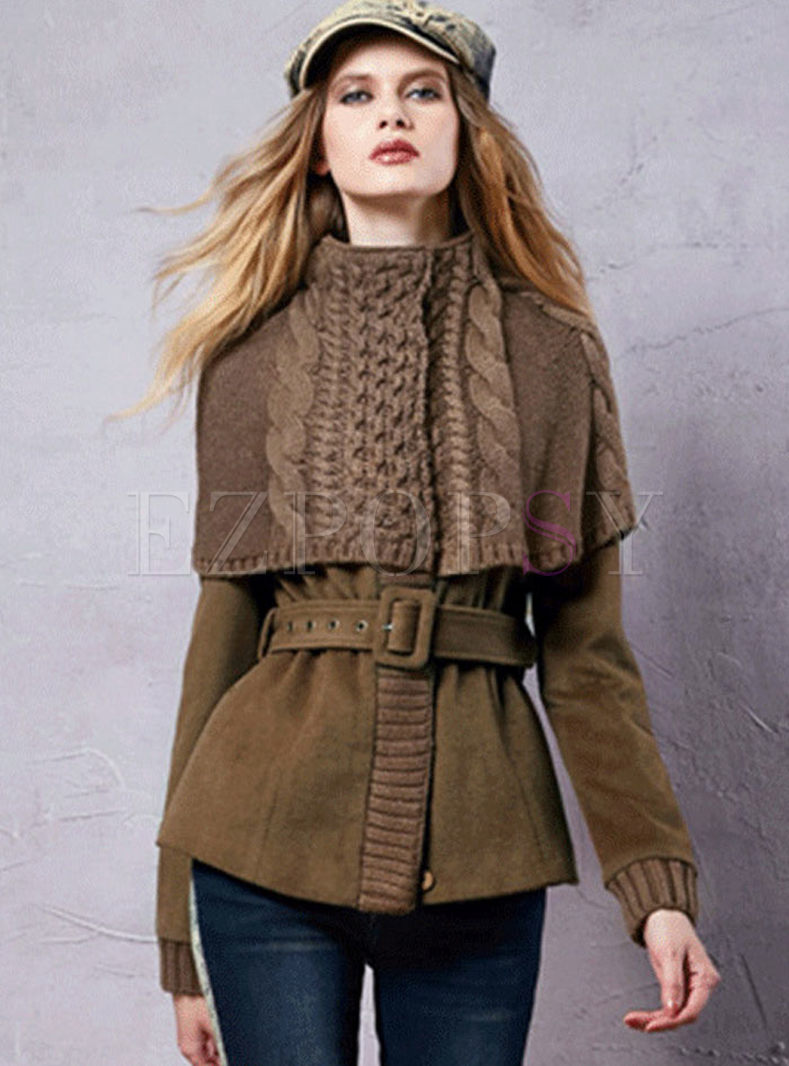 Casual Patchwork Slim Belt Stylish Coat