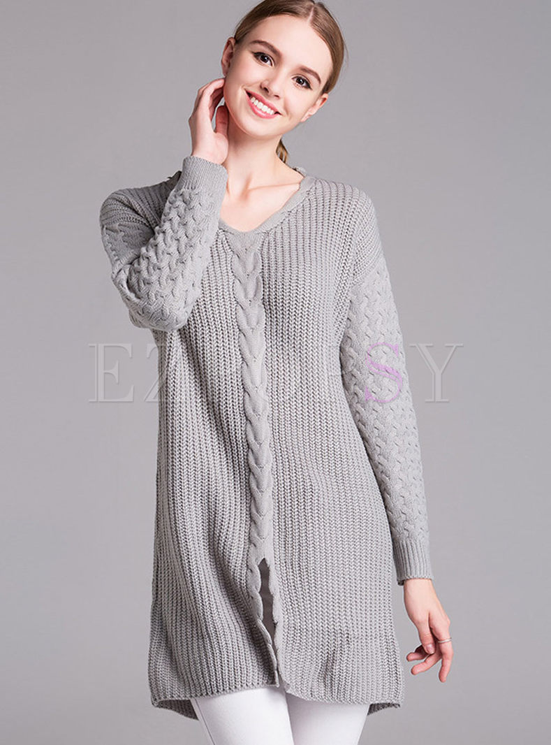 Brief Pure Color Loose Sweater