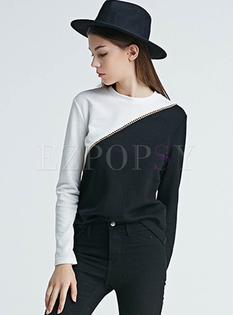 Patch Hit Color Slim Pullover T-shirt