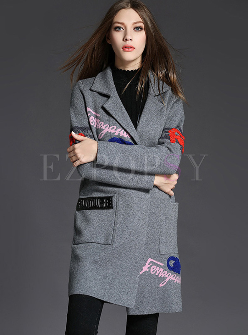 Thick Embroidered Loose Sweater Coat