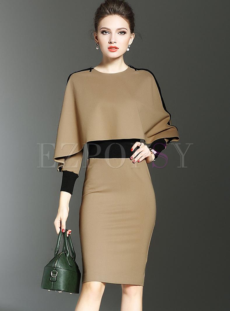 Dresses Bodycon Dresses Bat Sleeve Bodycon Dress With Cape
