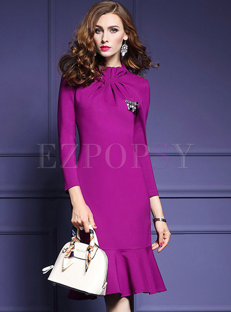 Slim Flounced Stand Collar Mermaid Bodycon Dress